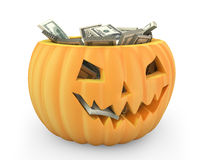 Holiday pumpkin jack lantern full of dollars Royalty Free Stock Photos