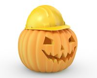 Holiday pumpkin jack lantern in a yellow helmet Stock Images