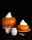 Holiday pumpkin pie ingredients with copy space Royalty Free Stock Images