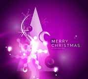 Holiday purple abstract background, winter. Snowflakes, Christmas and New Year design template, light shiny modern vector illustration Stock Images