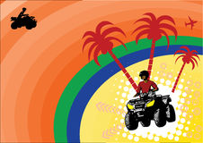Holiday quad sports. With silhouettes of tropical tree and quad riding Royalty Free Stock Image