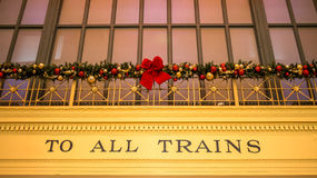 Trains sign Christmas decorations Royalty Free Stock Photos