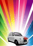 Holiday rainbow background with wedding car Royalty Free Stock Image