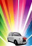 Holiday rainbow background with wedding car Royalty Free Stock Image