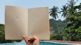 On holiday  reading a book Stock Photo