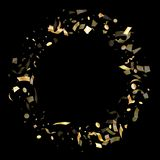 Holiday realistic gold confetti flying on black background. Royalty Free Stock Photo