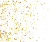 Holiday realistic gold confetti flying on black background. Royalty Free Stock Photos