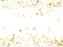 Holiday realistic gold confetti flying on black background. stock photography