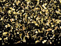 Holiday realistic gold confetti flying on black background. stock images