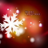 Holiday red abstract background, winter snowflakes Royalty Free Stock Image