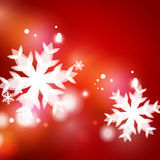 Holiday red abstract background, winter snowflakes Stock Photo