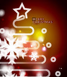 Holiday red abstract background, winter snowflakes Stock Photos