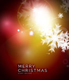 Holiday red abstract background, winter snowflakes Stock Image