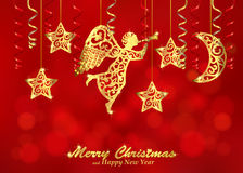 Holiday red background with golden figures of angel, stars and m. Christmas background decorated with paper streamers and fillet silhouettes of blowing angel Royalty Free Stock Images