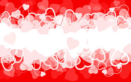 Holiday red background with hearts. Vector illustration Stock Photography