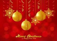 Holiday Red Background With Christmas Ornaments Stock Photography
