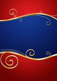 Holiday Red and Blue Background. A decorative background in blue and red with golden lines and copy space Royalty Free Stock Photo