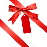 Holiday red bow isolated on white Stock Photo