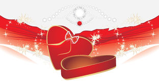 Holiday red box with shining strasses Royalty Free Stock Images