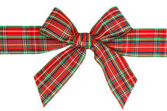 Holiday Red Plaid Ribbon Bow Royalty Free Stock Photography