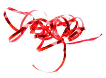 Holiday red ribbon isolated on white Royalty Free Stock Images