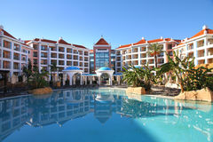 Holiday resort. Pool area of summer holiday resort Stock Photography