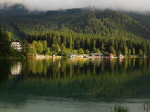 Holiday resort at lake Eibsee in Wetterstein Forest Stock Photo