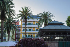 Holiday resort. Mediterranean holiday resort with palm trees Stock Photo