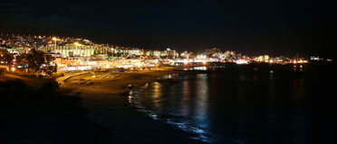 Holiday resort night view. Lights of holiday resort by the sea stock images