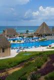 Holiday resort pool area Stock Photos