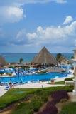 Holiday resort pools. Pool bar and pools with bridges at vacation holiday resort Stock Images