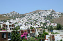 Holiday resort in Turkey. Bagla, holiday resort in Turkey near Bodrum. General landscape with hills, buildings, guesthouses and hotels Stock Images