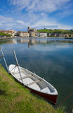 Holiday resort, village of Zumaia reflected in water Stock Photo