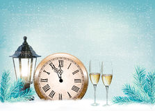 Holiday retro background with champagne glasses and clock Royalty Free Stock Photo