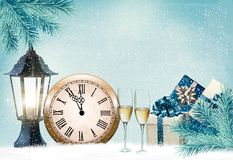 Holiday retro background with champagne glasses and clock. Happy New Year. Vector illustration Royalty Free Stock Images