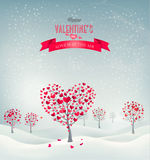 Holiday retro background. Valentine trees with hea Stock Image
