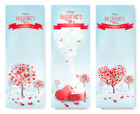 Holiday retro banners. Valentine trees with heart-shaped leaves. Royalty Free Stock Image
