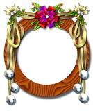 Holiday ribbon-bell frame. Beautiful holiday frame festooned with golden ribbons & silver bells Royalty Free Stock Images