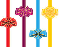 Holiday ribbon and bow. Colour bows with tape on white background is insulated Royalty Free Stock Image