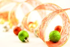 Holiday ribbon christmas balls Stock Photos