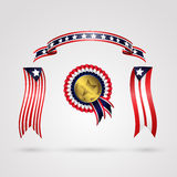 Holiday ribbon rosettes,  on white background. Blue, white, gold symbol of star and red colors Royalty Free Stock Images
