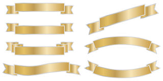 Holiday ribbons of gold color Stock Photo