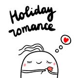 Holiday romance hand drawn illustration with cute marshmallow holding tulip royalty free illustration