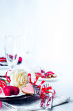 Holiday romantic table setting with pink roses. On a white background stock photography