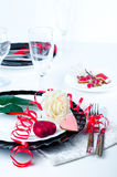 Holiday romantic table setting with pink roses. On a white background royalty free stock images
