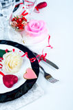 Holiday romantic table setting with pink roses. On a white background stock image