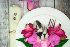 Holiday romantic table setting with pink roses on a white background Stock Image