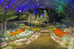Holiday Room. Phipps Conservatory's Christmas Holiday Room Decorated with White Orange Yellow and Red Flowers Border a Small Stream that is Highlighted with royalty free stock photo