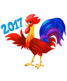 Holiday Rooster with 2017 year text. New year celebration.  Royalty Free Stock Image