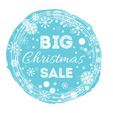 Holiday round blue frame decorated snowflakes and text Big Christmas Sale. Stock Image